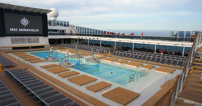 The pool deck on MSC Meraviglia