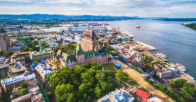 Aerial view of old Quebec City and port