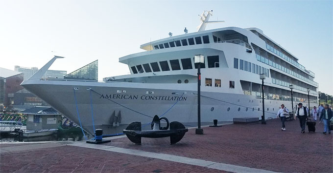Constellation docked at Inner Harbor in Baltimore.