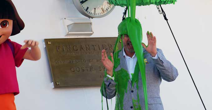 Pacific Explorer christening with Sture Myrmell slimed
