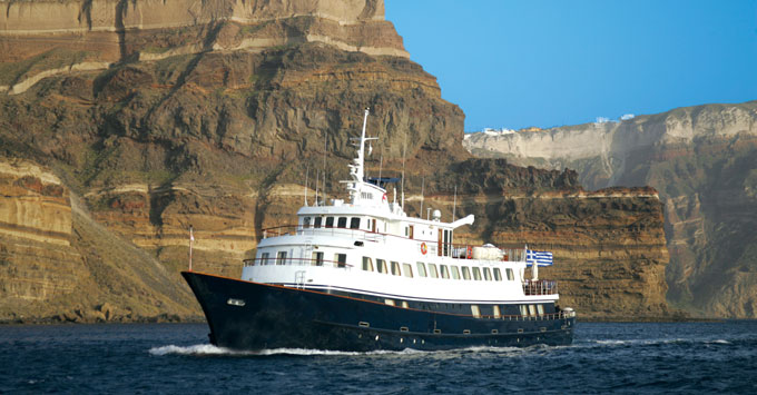 M/Y Callisto pictured in Santorini