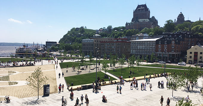 Place des Canotiers  and Chateau Frontenac in Quebec City