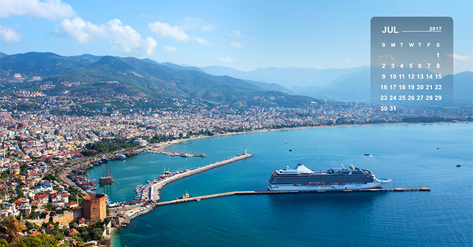 Aerial shot of cruise ship in Alanya harbor