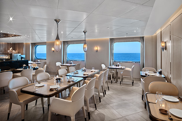 Seabourn Sushi restaurant seating area, with ocean views in the background