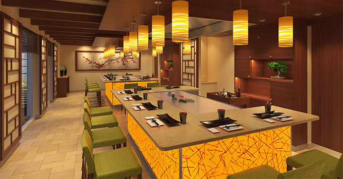 Rendering on Teppanyaki interior