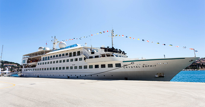 Exterior shot of Crystal Esprit docked in port