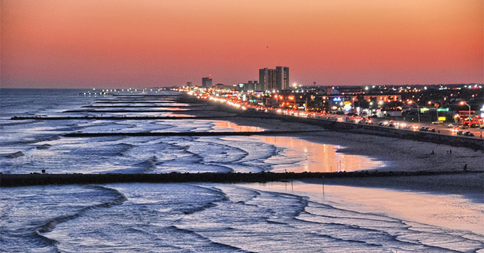 Galveston, Texas coast at dusk