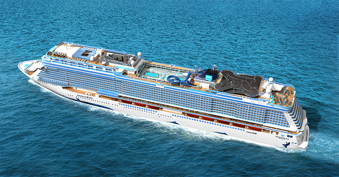 Aerial shot of Norwegian Bliss exterior at sea
