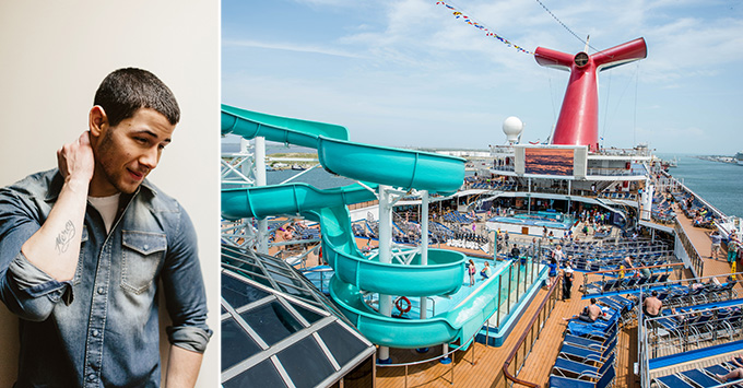 Composite of Nick Jonas and Carnival Victory