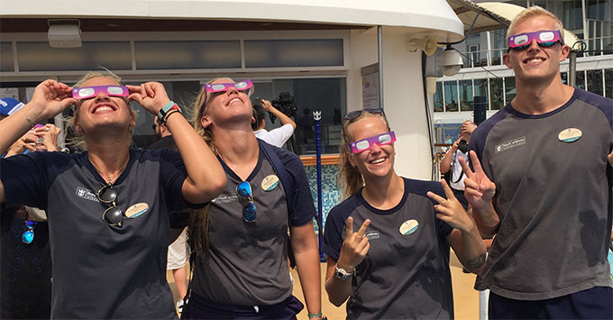 Royal Caribbean provided glasses so everyone onboard could enjoy the show on Oasis of the Seas - Solar Eclipse 2017 Cruise