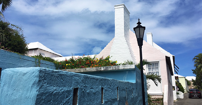 Colorful building facade in St. George's, Bermuda