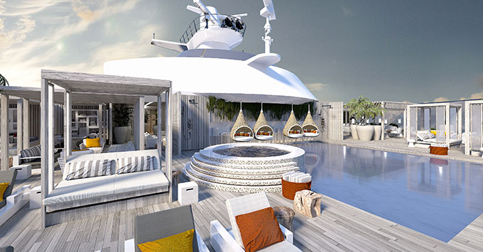 Cruise ship sun deck with pool, hot tub and cabanas