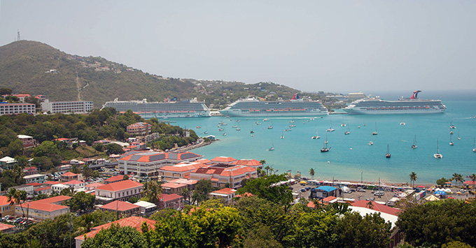 Cruise ships docked in St. Thomas on a hazy day