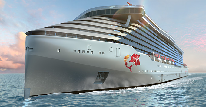 Rendering of Virgin Voyages newest ship