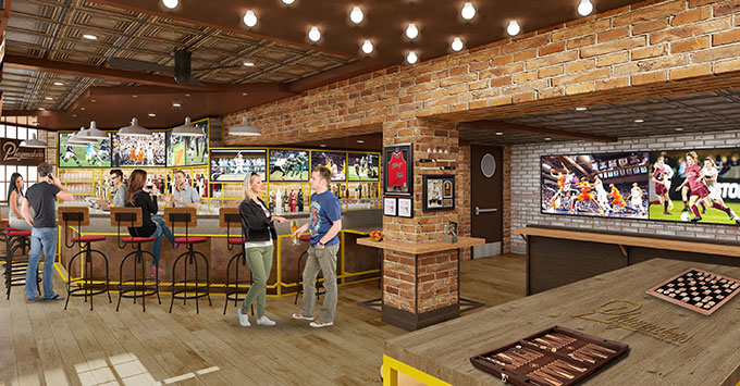 Artist rendering of Playmakers Sports Bar & Arcade onboard Symphony of the Seas