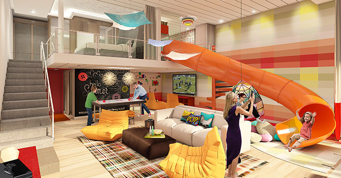 Artist rendering of a family suite on Symphony of the Seas