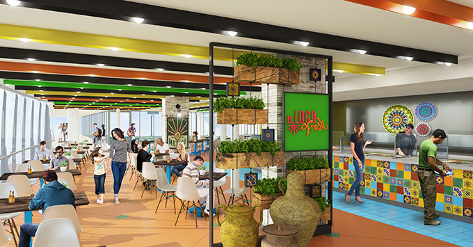 Artist rendering of El Loco Fresh onboard Symphony of the Seas