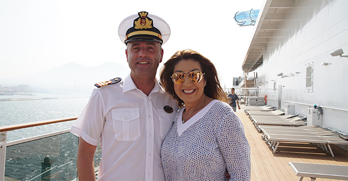 Jane meets one of the officers onboard MSC Meraviglia