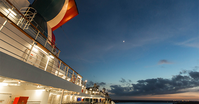 Side exterior shot of Carnival Dream at night