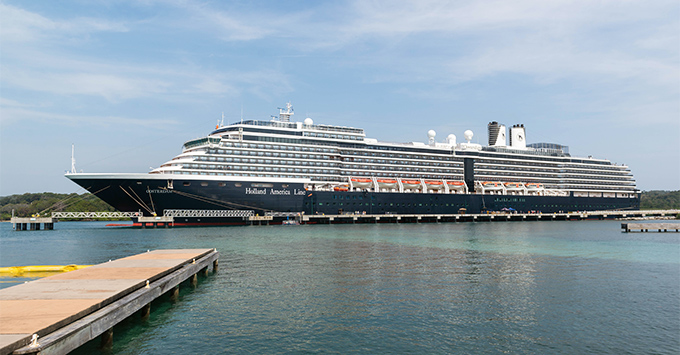 Exterior shot of Oosterdam in port