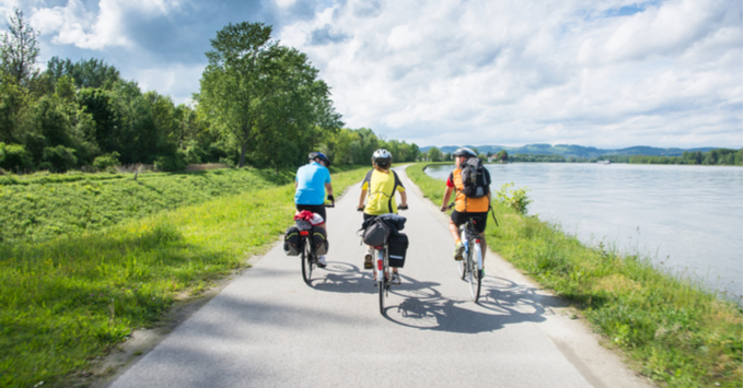 Cycling near the Danube River in Austria's Wachau Valley