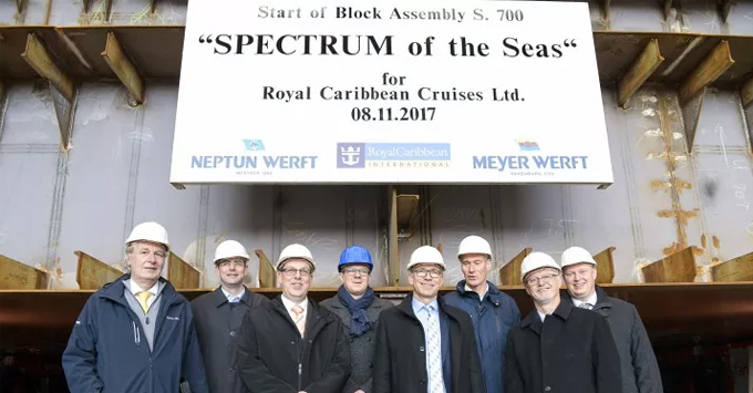 The keel laying ceremony for Spectrum of the Seas