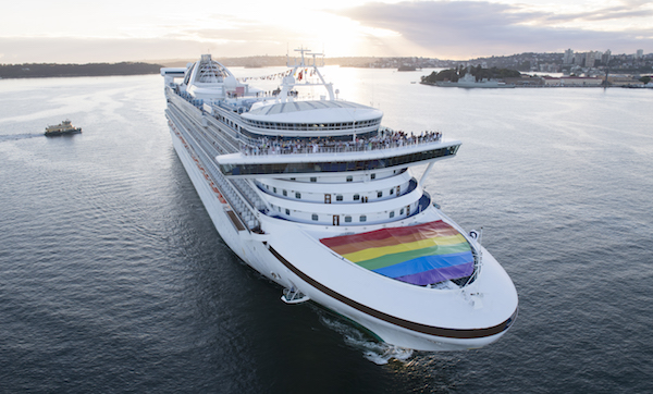 Golden Princess with rainbow flag