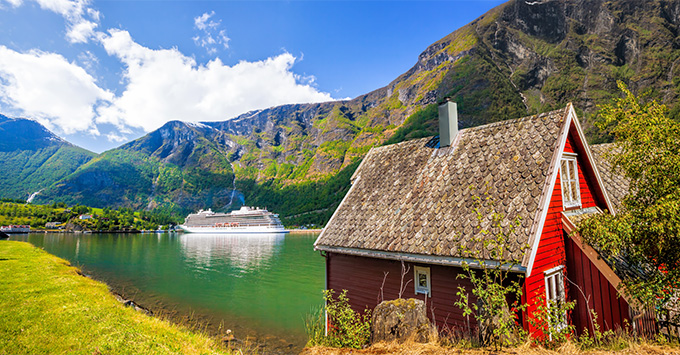 Flam with cruise ship in the background