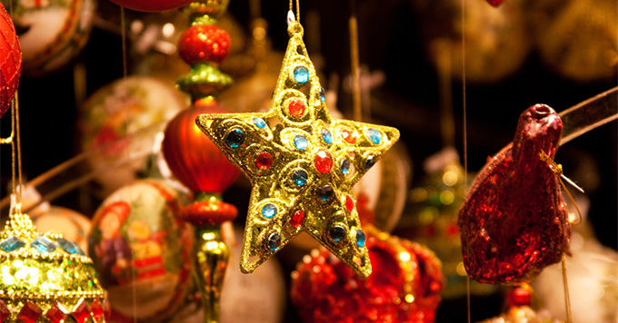 Close-up shot of a Christmas ornament in Vienna Christmas market
