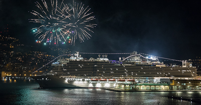 Cruise Ship at Night with Fireworks