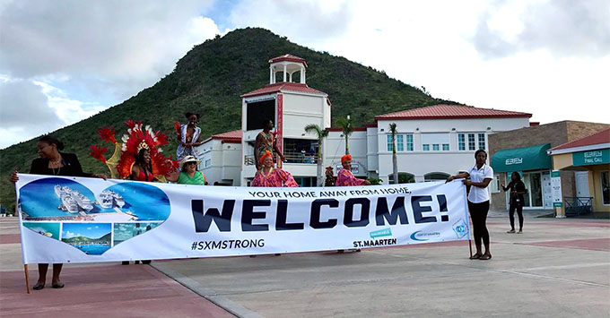 Locals welcome Viking Sea passengers at the Port of St. Maarten