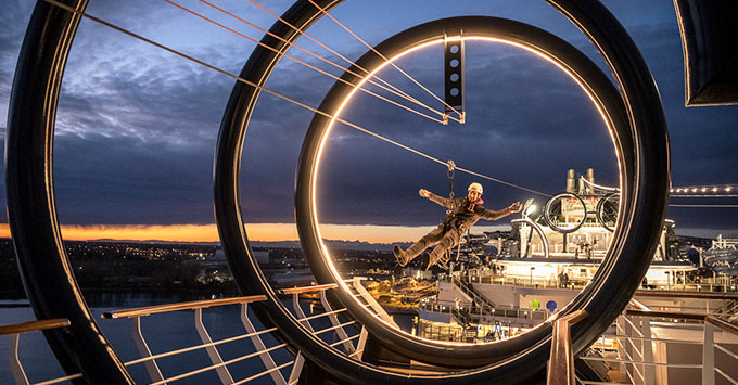 MSC Seaside features the longest zip line at sea at 105m long