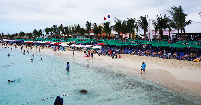 Cruisers visitng the beach in Grand Turk