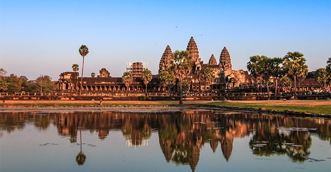 The reflection of Angor Wat's shadow on the basin, ancient architecture in Cambodia