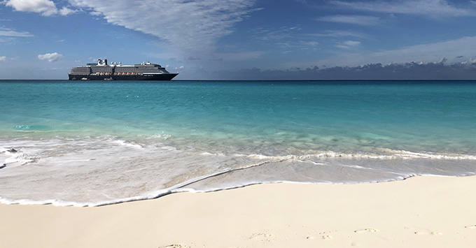 Shot of Zuiderdam from Half Moon Cay beach