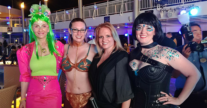 Women dressed up for Q's Costume Party on the Star Trek Cruise
