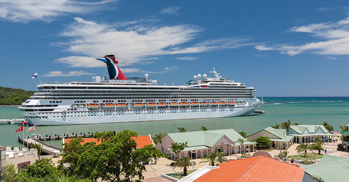 Exterior shot of Carnival Valor in Amber Cove