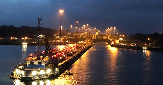 Approaching the Panama Canal on Zuiderdam