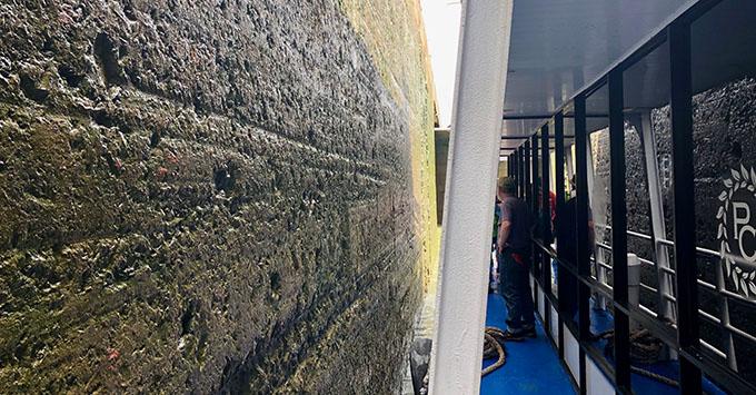 Cruising through the locks in the Panama Canal on Zuiderdam