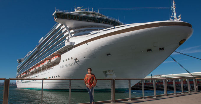 Jane McDonald in Front of Ruby Princess