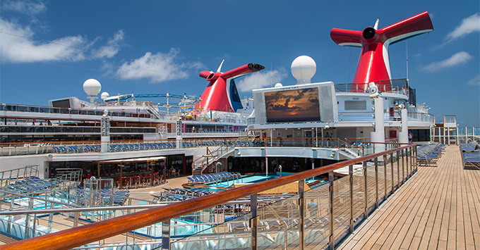 Shot of Carnival funnels from Carnival Valor exterior deck
