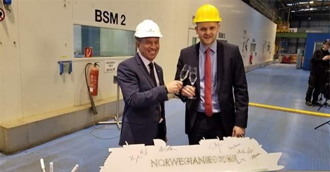 The Norwegian Encore steel-cutting at Meyer-Werft shipyard in Papenburg