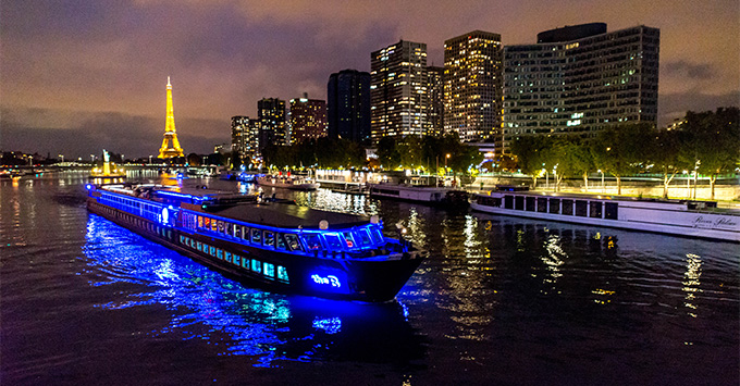 Exterior shot of The B in Paris at night