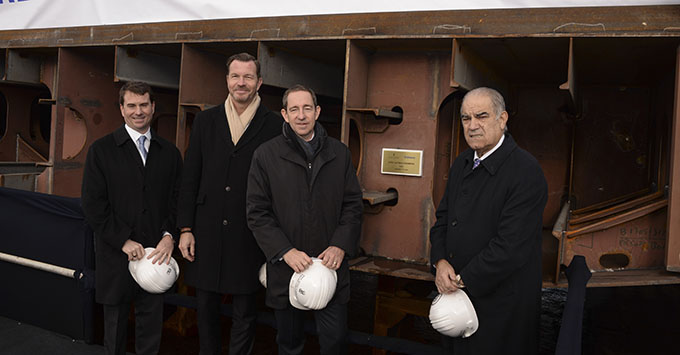 (From left to right) Timothy Grisius, Fredrik Johansson, Douglas Prothero, José García Costas at the keel-laying ceremony for Ritz-Carlton's new cruise ship