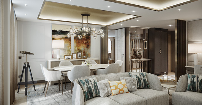 Rendering of the Penthouse Suite living room on Crystal Endeavor