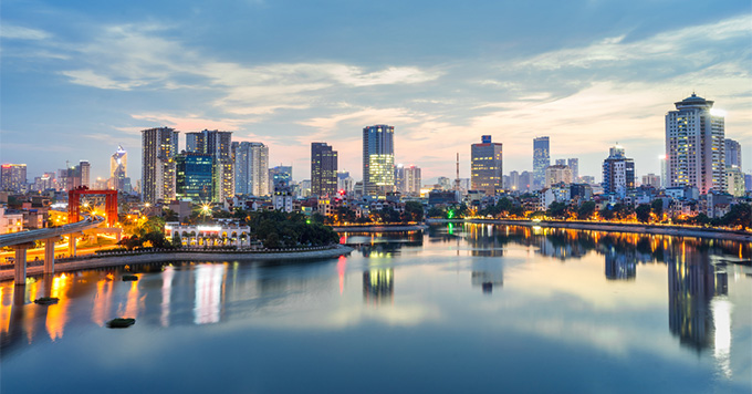 Hanoi city skyline at night