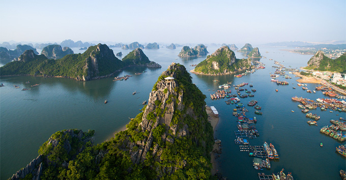 Aerial shot of Halong Bay