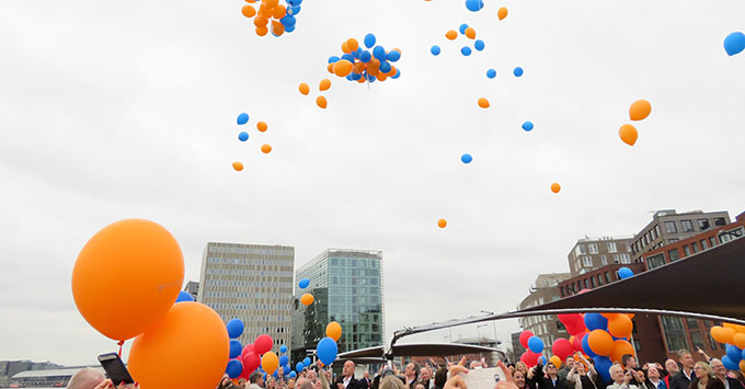 Celebratory balloons at the Amadeus Queen christening