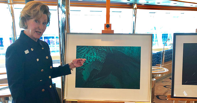Queen Sonja of Norway's art exhibit onboard Hurtigruten's ms Fram