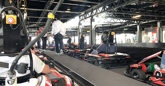 Queued up for the next race on Norwegian Bliss' Go Kart Track
